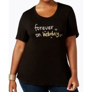 FOREVER ON HOLIDAY Christmas Holiday Shirt Plus 2X